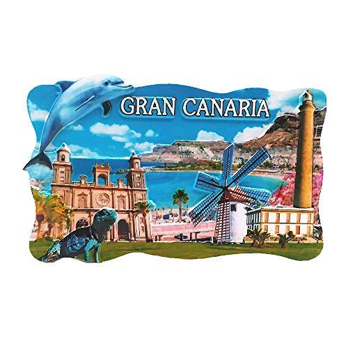 Calamita da frigorifero 3D Gran Canaria Isola Spagna souvenir turistico regalo collezione casa e...
