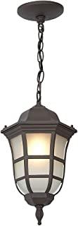 Traditional Gooseneck Hanging Outdoor Chandelier Light | Classical Matte Bronze Finish with Frosted Glass | Exterior Lighting LED Bulb 2700K Included