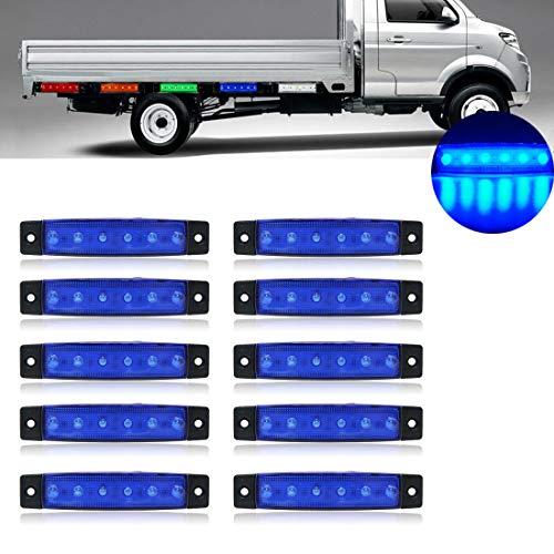 """VIGORFLYRUN PARTS LTD 10x 6 LED 3.8\"""" Seitenmarkierungsleuchten Markierungsleuchten 12V Wasserdicht Standlicht für Auto LKW Anhänger Busse Wohnwagen SUV Van - Blau"""