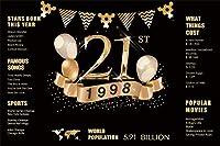 HD 7x5ftビニール21歳の誕生日写真撮影の背景21周年記念の装飾1998サインブラックゴールドポスターテキストパーティーの装飾重要なイベント記念パーティーの背景スタジオプロップ