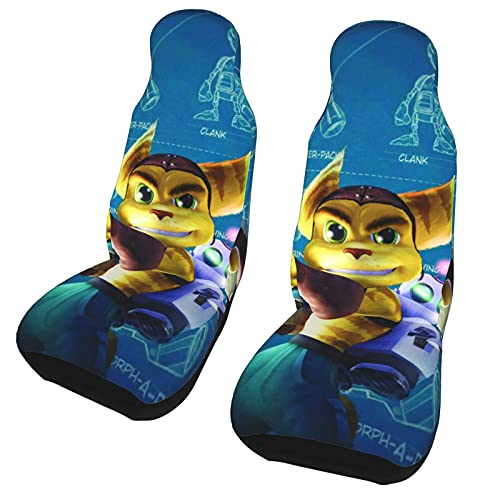 Ratchet & Clank Car Seat Covers Accessories Set Super Soft Vehicle Seat Decoration Protector Cover Bag for Cars, Suvs,Trucks,Machine Washable (Set of 2)