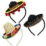 AMZBY 3 Cinco de Mayo Fiesta Sombreros Cintas para el Cabello, Telas y Sombreros de Paja Cintas para la Cabeza, Decoración Mexicana para Fiestas Accesorios fotográficos
