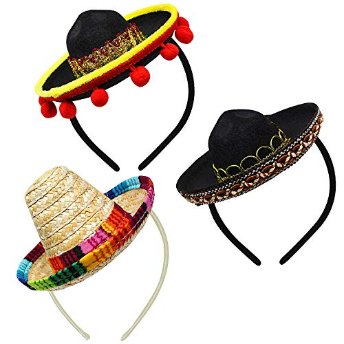 3 PCs Cinco De Mayo Fiesta Fabric and Straw Sombrero Headbands Party Costume for Fun Fiesta Hat Party Supplies, Luau Event Photo Props, Mexican Theme Decorations for Carnivals Festivals Party Favors
