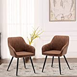ANNJOE Faux Leather Accent Chair Arm Chairs Living Room Chairs Leisures Chair Upholstered Chair with Metal Legs Set of 2 for Home Kitchen Office Bistro Cafe, Brown