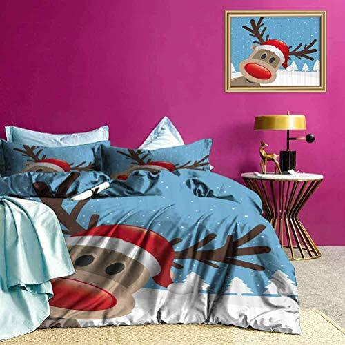Set biancheria da letto Copripiumino con stampa di cappello Rudolph con renna così adorabile e versatile