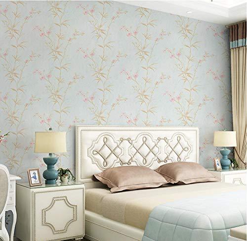Papel pintado 3D Flor de jardín no tejido Papel pintado Verde claro para decoración de pared de dormitorio y hogar, papel pintado minimalista de lujo 0.53mx9.5m