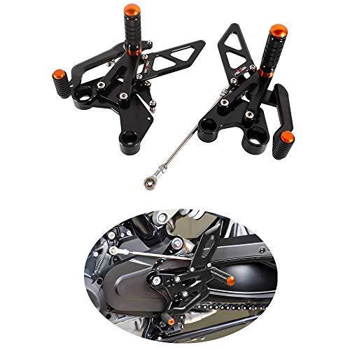 Comandi Arretrate Regolabili Moto Pedale del Cambio e Freno in Alluminio CNC Kit di Riposizionamento Poggiapiedi per Duke 790 2018-2020 (Nero)