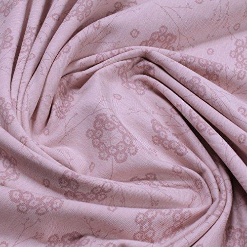 Stoff am Stück 0,5 Meter Bio-Baumwolle Elastan Single Jersey pastellrosa meliert Pusteblume kbA