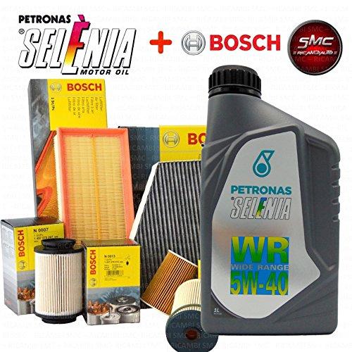 Tagliando olio SELENIA WR 5W40 4LT + 4 FILTRI BOSCH (PER IMPIANTO UFI F026407067 OPPURE PURFLUX 1457429256 + F026400002+ 24.ONE.01 + 1987432488)