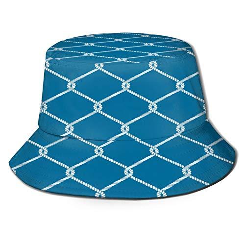 Sombrero de Pesca,Patrón de Nudo de Cuerda náutica sin Fin interminable,Senderismo para Hombres y Mujeres al Aire Libre Sombrero de Cubo Sombrero para el Sol