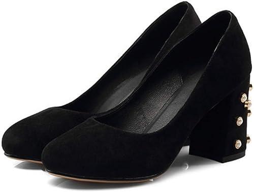 VIVIOO Chaussures à Talon Plat pour Femmes avec Boucle à Bout Rond