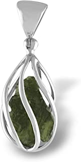 Starborn Natural Moldavite Pendant in Sterling Silver Cage