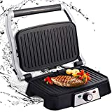 Aigostar Grill Multifunction meat, plancha, panini press, sandwich maker. - Hitte 30HFA1500W, non-stick plates, 180º opening, adjustable intensity, cold frame. Silver color.
