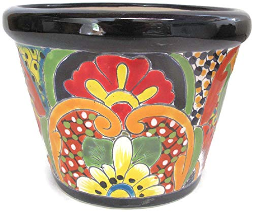 Talavera Pottery Store Bordeo Planter #2 Hand Painted Pot Indoor Outdoor Multi Colored Glazed