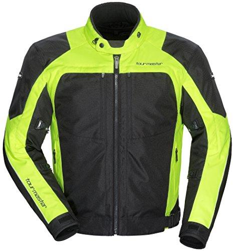 Tour Master All Season Mens Armored Pivot Motorcycle Jacket with Removable Waterproof Thermal Liner, Hi-Viz/Black, X-Large