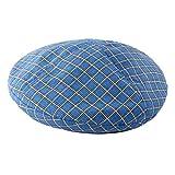 GROOMY Baskenmütze, Damen-Retro-Baskenmütze im britischen Stil mit Retro-Karomuster aus Baumwolle, verstellbar, lässig, französischer Maler, kappenloses Urinal-Blau