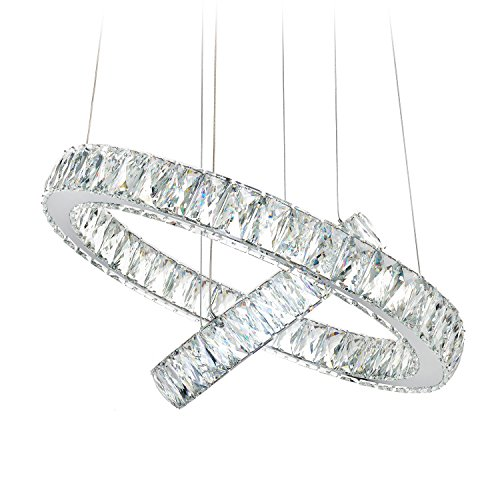 MEEROSEE Modern Crystal Chandelier Lighting Ceiling Light Fixture LED Contemporary Adjustable Stainless Steel 2 Rings…