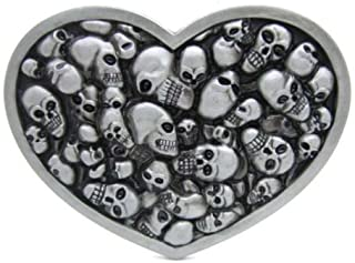 9cd116ee Vintage Love Heart Skull Heads Gothic Punk Mens Belt Buckle Western  Motorcycle