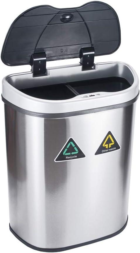PUCHIKA Automatischer Mülleimer 2X35L Berührungsloser Abfallbehälter mit Doppelfach, Edelstahl, Küchen Recycling und Abfalleimer