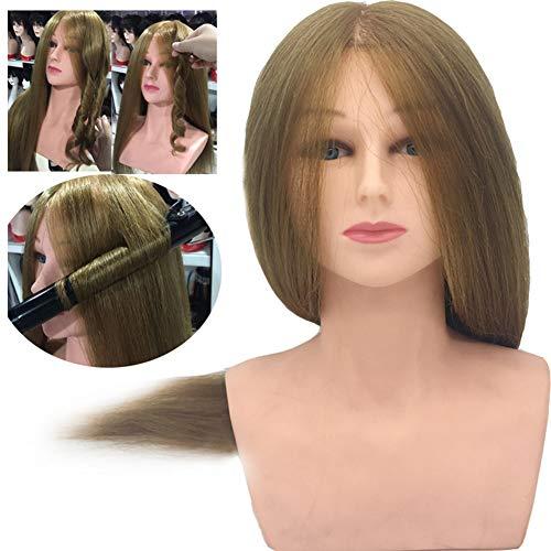 WANGXN Cabeza peluqueria Pelo Natural 100, Cabeza de peluquería Profesional de Cabello Real al 80%, Cabeza de muñeca de maniquí de cosmetología