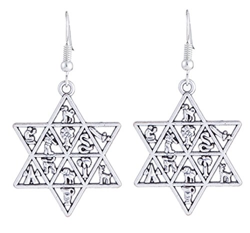 lemegeton Traditionelle Davidstern-Ohrhänger, Design der 12Stämme Israels, Ohrringe Schmuck für Frauen & Mädchen