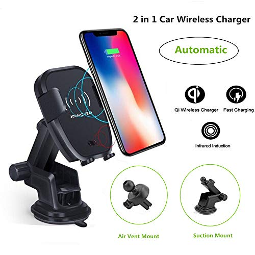 Automatic Wireless Car Charger One-Touch Design Qi Fast Charging Car Mount with Air Vent & Bracket Dashboard Holder Compatible for iPhone Samsung Nexus HTC Sony and Android Smartphones Qi Certified