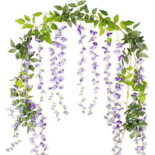 VINFUTUR 2m×2pcs Guirnalda de Flores Artificiales Wisteria, Plantas de Flores Falsas Guirnalda Colgante Vid de Glicina Artificial con Hiedra para Decoración Jardín Boda Balcón Exterior Interior