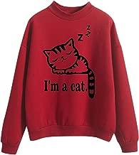 Women O-Neck Solid Cute Sweatshirt AOJIAN Cat Pattern Long Sleeve Plus Velvet Pullover Red XXL
