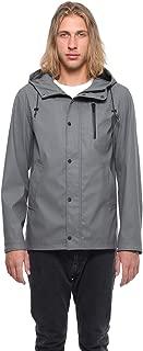 Men's Lightweight Waterproof Hooded Rubberized Raincoat Parka Windbreaker Rain Jacket