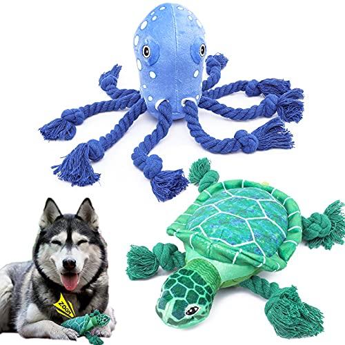 VIEWLON Juguetes para Perros Chirriantes - 2 Pack Peluche Juguete Morder con Sonido, Interactivos para Limpieza los Dientes, Resistante Cuerda para Perros Pequeños, Cachorros y Medianos