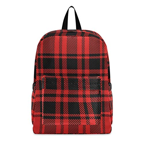 Christmas Red And Black Plaid Fashion School Backpack Lightweight Travel Laptop College Bookbag