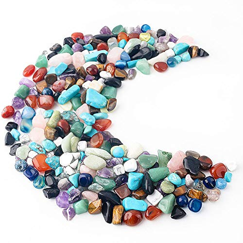 JOHOUSE Quartz Stones Tumbled Chips Stone Big Crushed Crystal Natural Rocks Healing Home Indoor Decorative Gravel Feng Shui Healing Stones About 1lb(450g),10 Different Kinds
