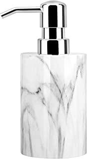 Best Luxspire Soap Dispenser, Cylinder-shaped Marble Lotion Liquid Soap Pump Bottles, Refillable Shampoo Container, Decorative Hand Soap Resin Jar for Bathroom, Kitchen - White Marble Review