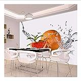Weaeo Murales En3DGota De Agua Fruta Naranja Papel Tapiz En 3D Murales Para Sala De Cocina Fotomural 3D Sala De Estar Murales De Pared 3D-250X175Cm