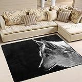 #Teppich #Wolf #Wolfskopf  #schwarz-weiss  #Wohnzimmer  #Schlafzimmer 63x48 Inch (ca. 160x122 cm) oder 80x58 Inch  (ca. 203x147  cm)