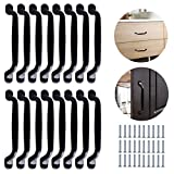 16 manijas para gabinete de 160mm manijas negras para armarios tiradores cocina negro con 32 tornillos tirador de arco para puerta espaciado de orificios de 128mm para gabinete muebles cajón puerta