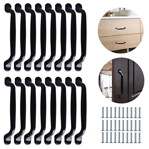 16 manijas para gabinete de 160mm manijas negras para armarios tiradores cocina negro con 24 tornillos tirador de arco para puerta espaciado de orificios de 128mm para gabinete muebles cajón puerta
