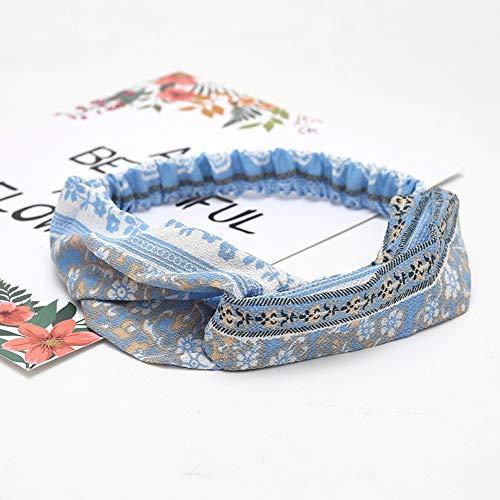 KAEHA SUN-080-02 Bandeau élastique Turbant Head Wrap Style Écharpe décorative Accessoires pour cheveux pour femme Bleu