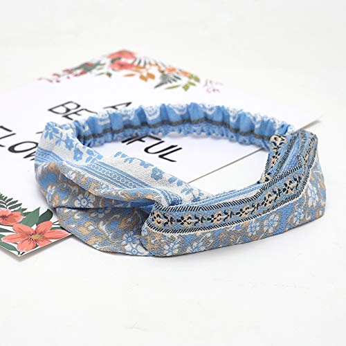 KAEHA SUN-080-02 Elastische haarbanden Turban Head Wrap Style Sjaal Deco haaraccessoires voor vrouwen, blauw