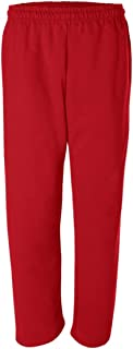 Adult Soft and Cozy Classic Style Open Bottom Sweatpants in 8 Colors Red