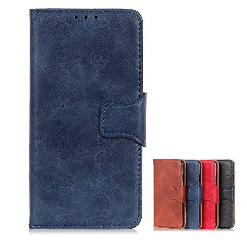 Hülle für Realme 6 Premium Leder PU Handyhülle Flip Hülle Wallet Lederhülle Klapphülle Klappbar Silikon Bumper Schutzhülle für Realme 6 Tasche (Blau)