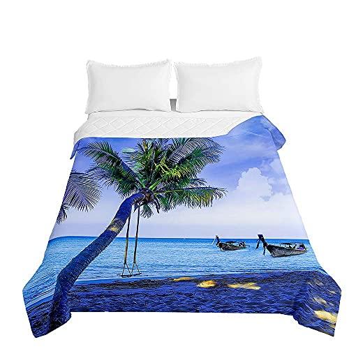 Oduo 3D-tryck quiltat sängöverkast mjukt mikrofiber lätt täcke täcke, dubbelsäng lyx quiltade täcken bäddsoffa sängöverdrag sängkläder för sovrumsdekor (blå natt, 200 x 230 cm)