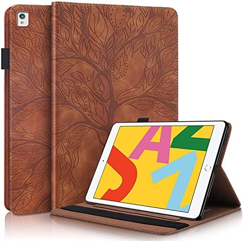 LUHUADE - Funda de piel sintética plegable para Samsung Galaxy Tab A-2016 (10,1', 360°, protección de 360°, color marrón