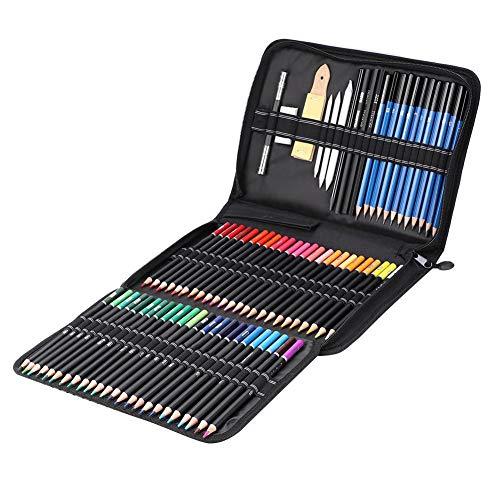 Dessin Art Set, 95 Pcs Art Peinture Croquis Outil Kit Dessin Croquis Dessin Fournitures Croquis Kit Artiste Fournitures Professionnel Kit de Dessin Avec Crayon De Couleur Graphite Crayon Fusain Crayon