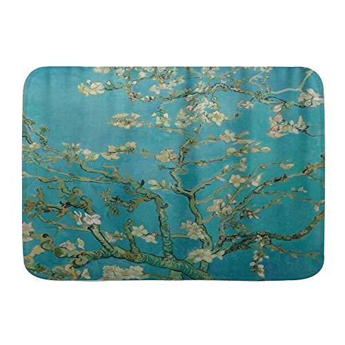 NA Alfombras de Puerta, Van Gogh Ramas de Almendro en Flor, Piso de Cocina Alfombra de baño Alfombra Absorbente Decoración de baño Interior Felpudo Antideslizante