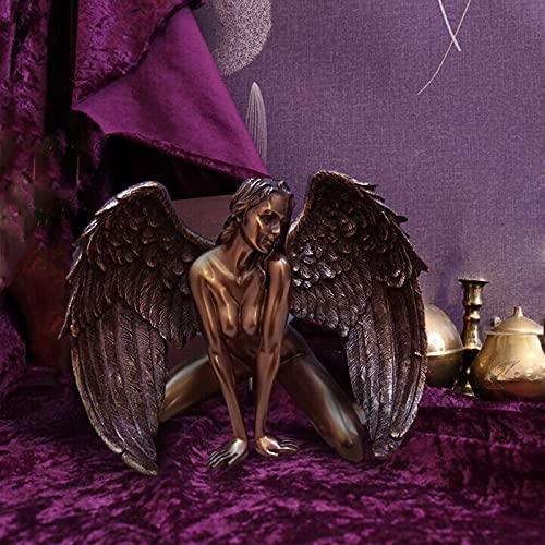 LEFUYAN Estátua de anjo caído, o anjo caído se ajoelhar, estatueta de decoração do mal demônio, ornamento de resina para acessórios de decoração de casa de jardim