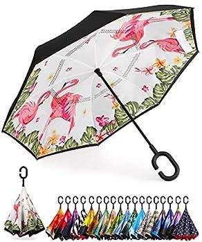 BAGAIL Double Layer Inverted Umbrella Reverse Folding Umbrellas Windproof UV Protection Big Straight Umbrella for Car Rain Outdoor with C-Shaped Handle  Flamingo