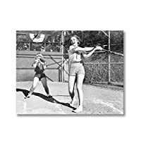 Suuyar 黒と白のビンテージ写真絵画野球のポスターを再生する2人の女性スポーツ壁アート画像キャンバスプリント寝室の装飾-50X70Cmフレームなし