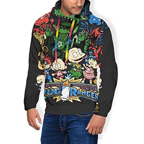 Gary Katte Ru-gra-ts Tv Show Men's Long Sleeve 3D Digital Print Pullover Hoodie Sweatshirt 3XL Black