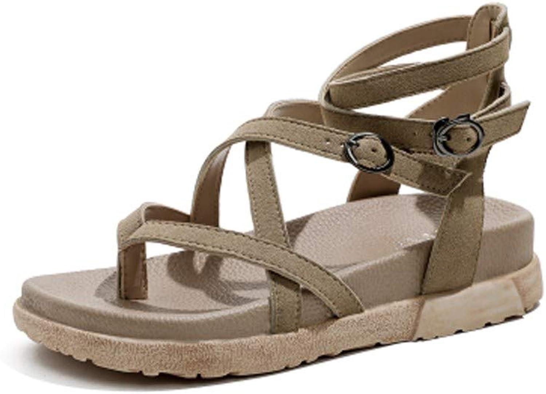 Sandals Neue Student-Muffin mit flachem Boden und dickem Bein (Farbe   Khaki, gre   37)